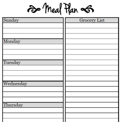 meal planning free weekly menu planner printable