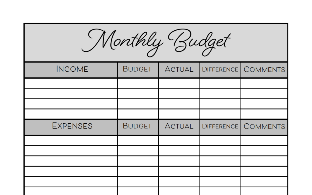 photo relating to Printable Monthly Budget titled Free of charge Month to month Funds Printable