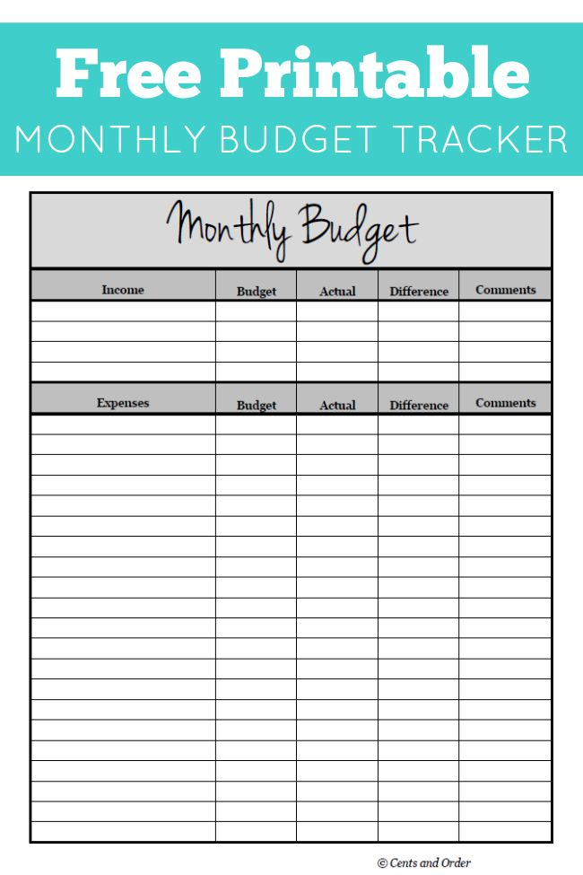 Free monthly budget printable for Budgeting sheets template
