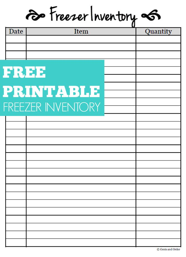 Free Printable Freezer Inventory Sheet