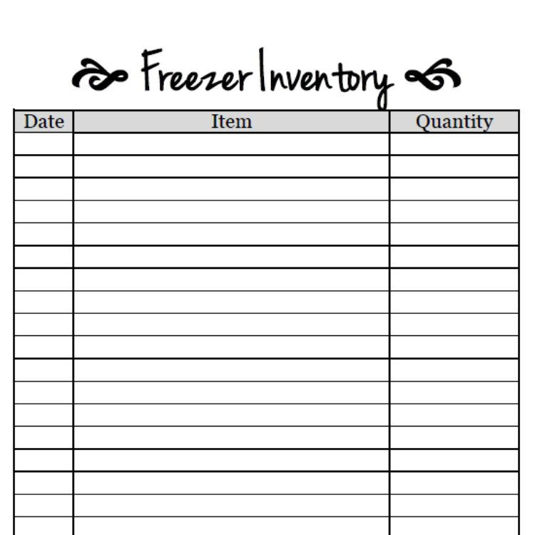 Free Printable-Freezer Inventory Sheet