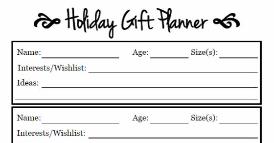 Free Christmas Gift Planner Printable