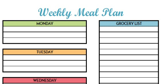 Free Weekly Meal Planning Printable With Grocery List