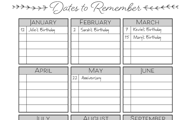 image regarding Printable Dates named Dates Toward Keep in mind No cost Printable